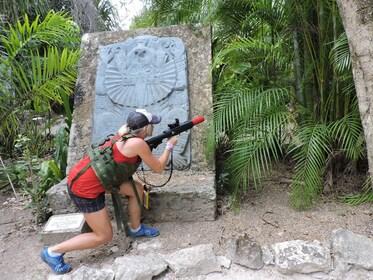 Person hides in Mayan Laser Tag Adventure