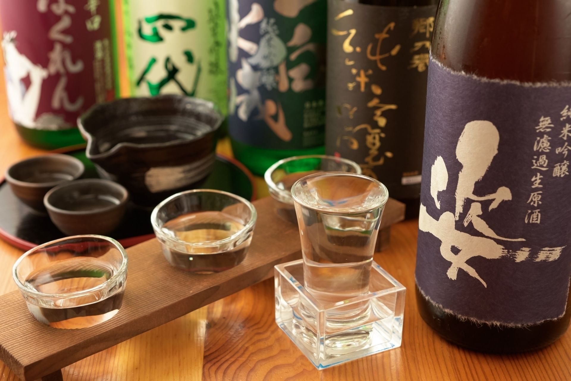 Sake bottles and glasses