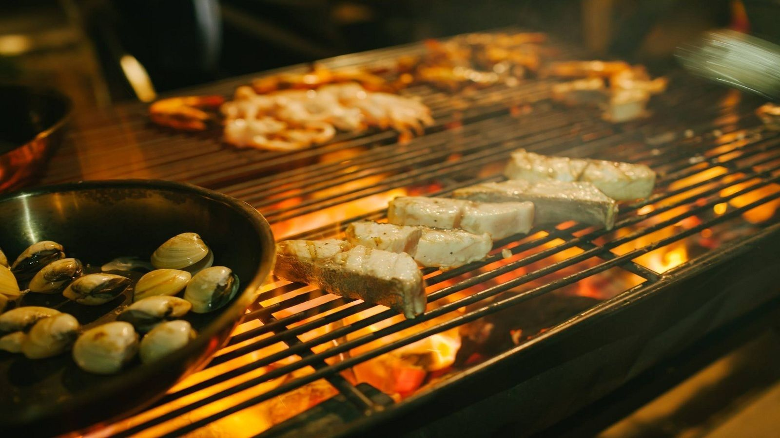 Food grilling on a BBQ in Nha Trang