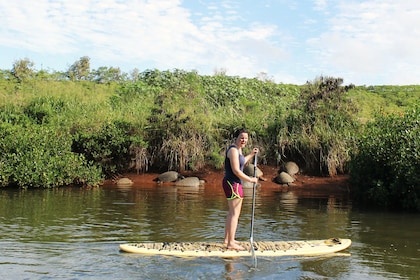 Woman stand up paddle boarding in Haleiwa