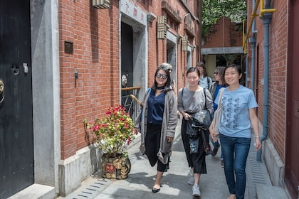 Group walking along the streets of Shanghai