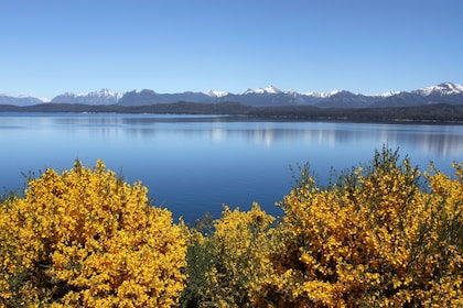 Landscape views of the mountains and lake in Bariloche