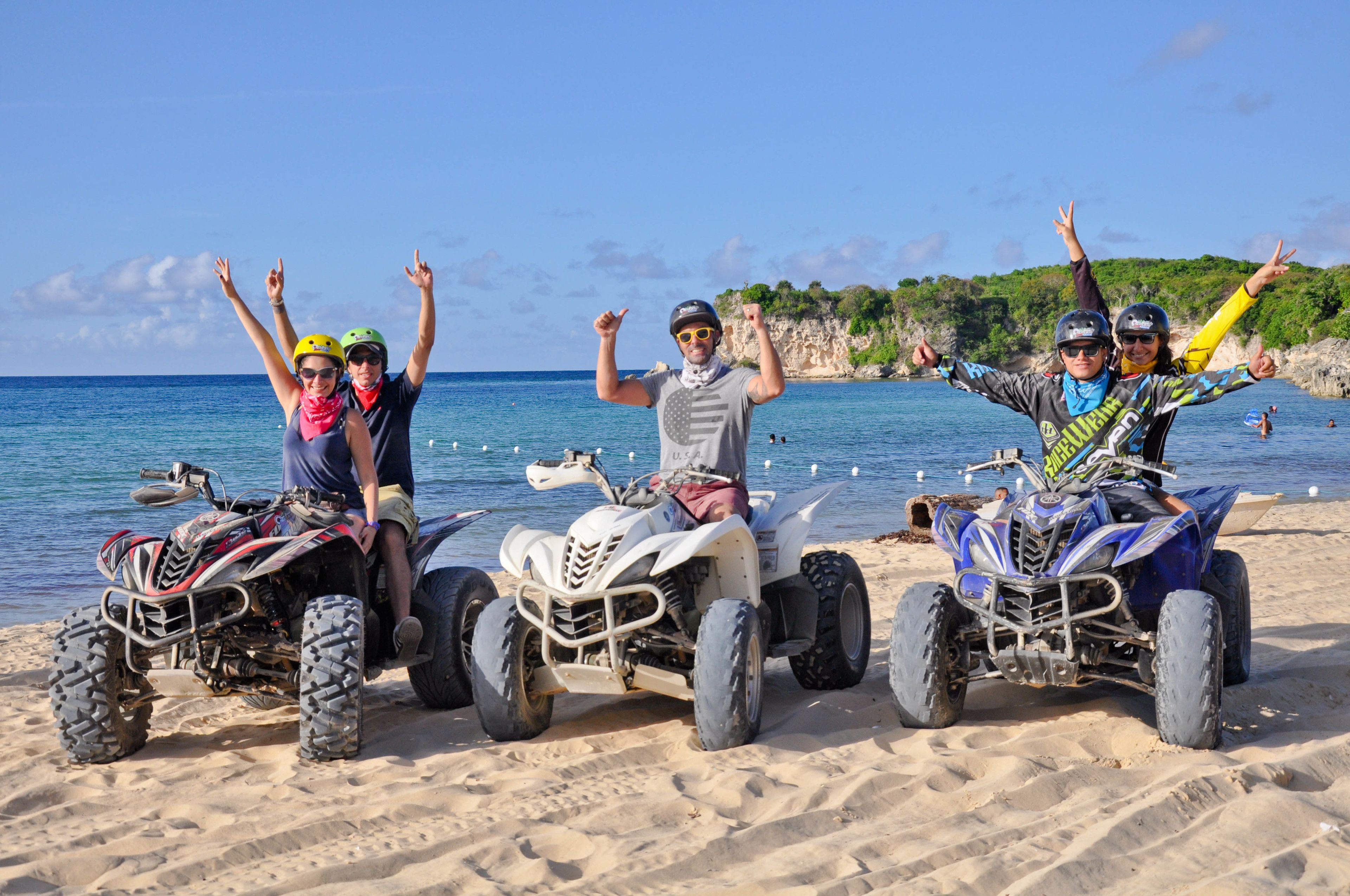 ATV riding group on the beach in Punta Cana