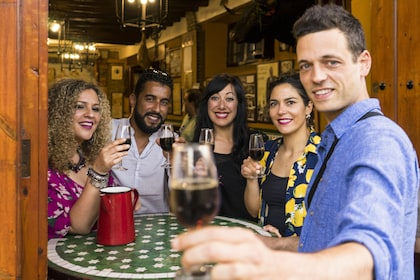 Group enjoying drinks at a local venue in Sevilla