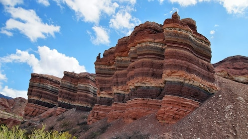 Colorful layered rock formations in Argentina