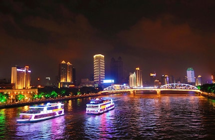 Boats on the river at night in Guangzhou