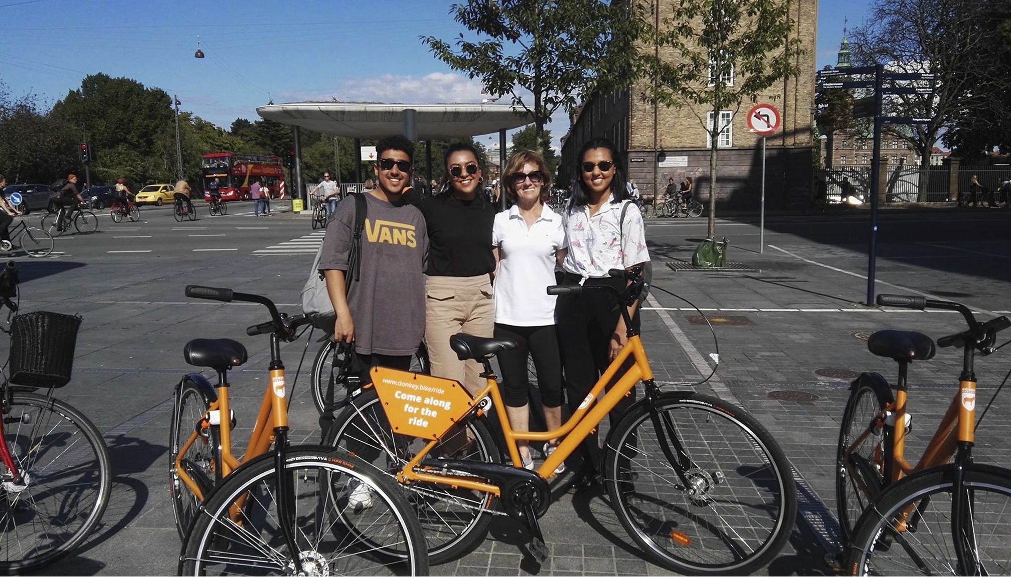 Group enjoying a bike tour in Copenhagens