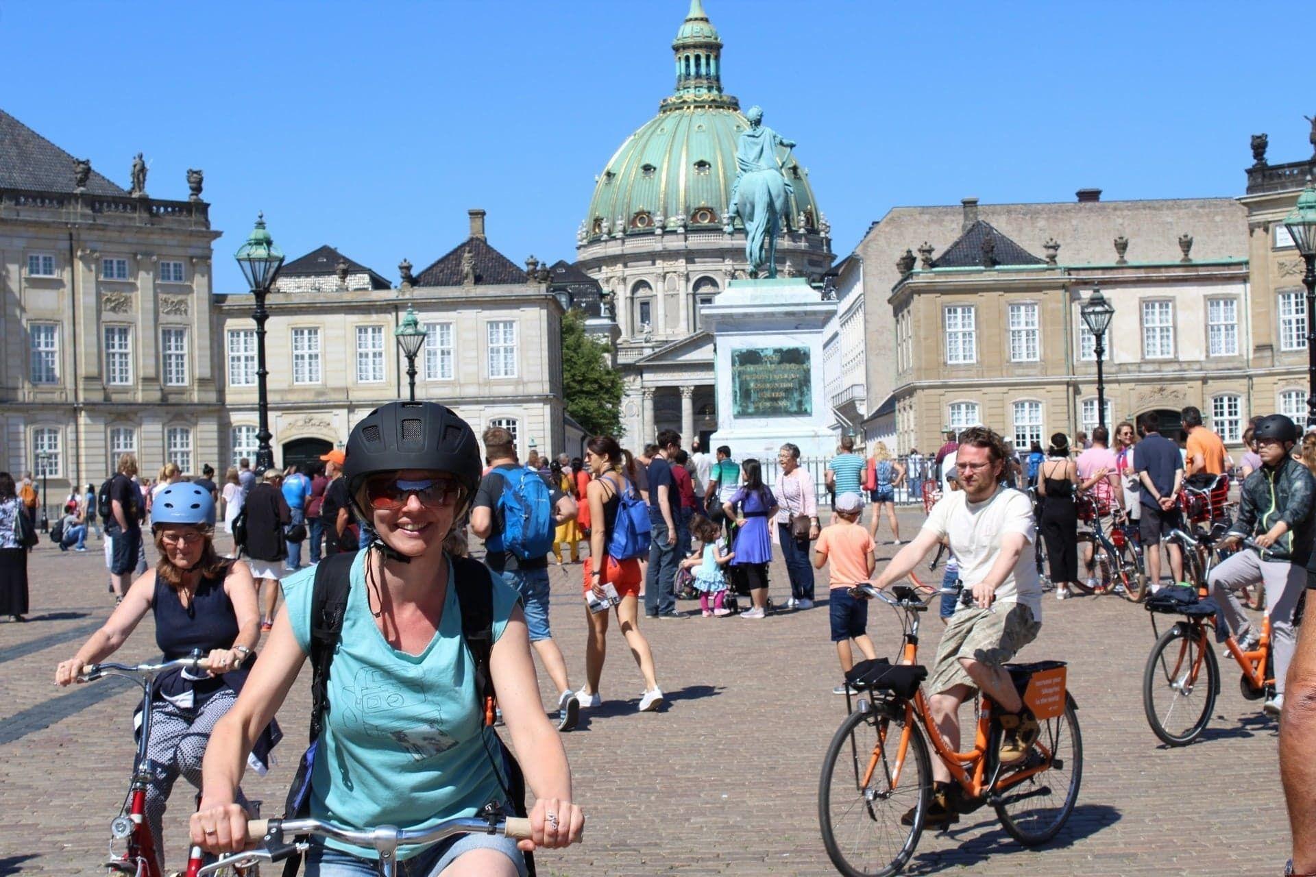 Group biking around Copenhagens