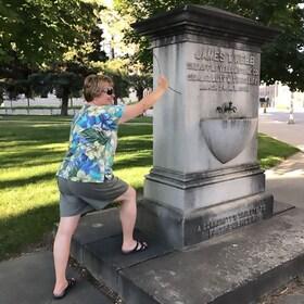 Woman on a zombie scavenger hunt in Cincinnati