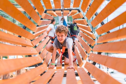 Boy harnessed on a rope climbing through a tunnel at aerial adventure park in British Columbia