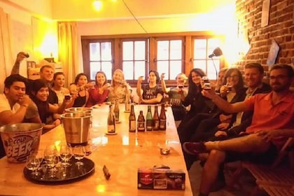 Group enjoying beer and chocolate in Brussels