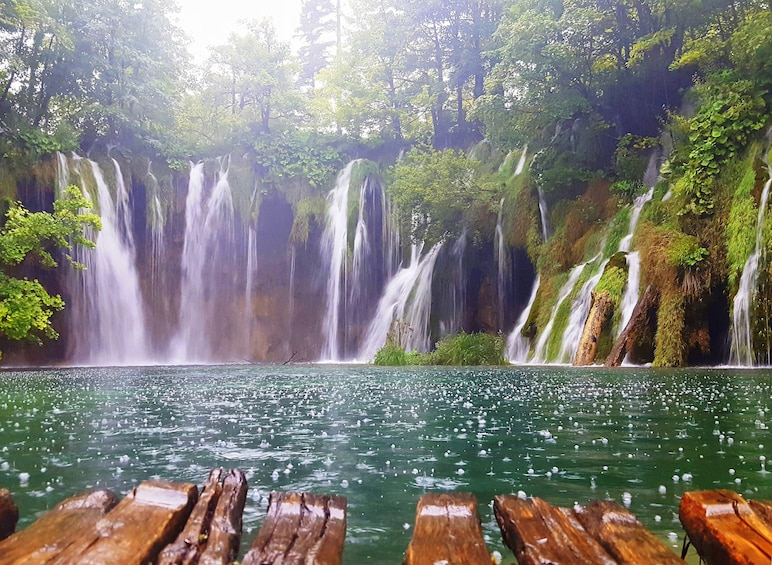 Show item 2 of 5. Waterfall into Plitvice lake