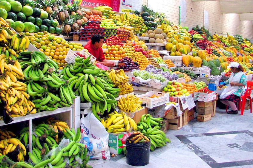 Street market overflows with produce