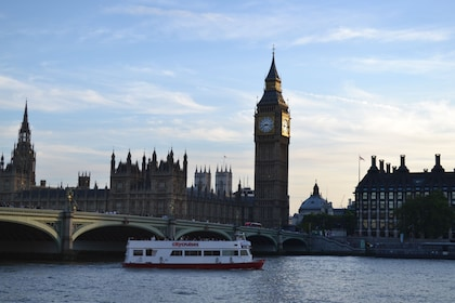 Cruise boat on the River Thames with Big Ben