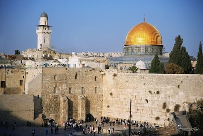 Golden domed ceiling of Dome of the Rock in Jerusalem