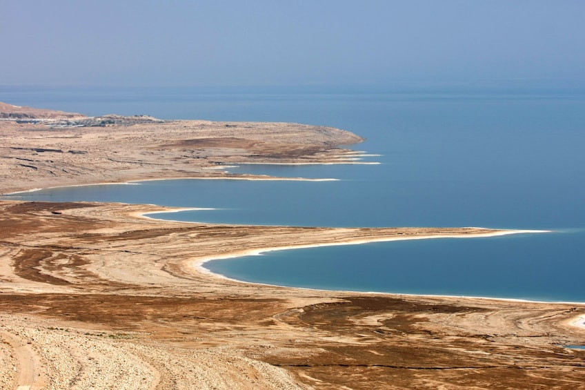 Show item 5 of 5. Aerial view of the Judean Desert and the Dead Sea