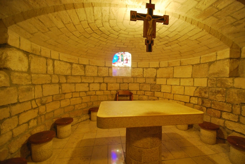 Show item 5 of 5. Church of St. Joseph underground small chapel with altar table in Nazareth