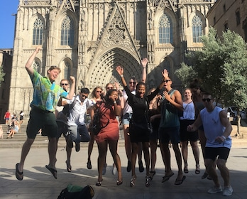 Group jumping in their in Barcelona