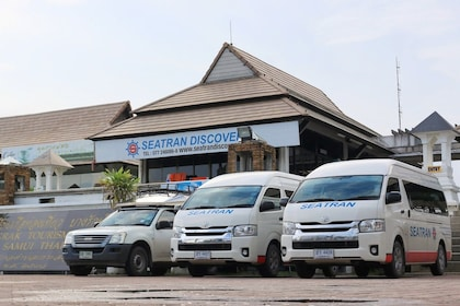Seatran vans in front of Seatran offices in Thailand