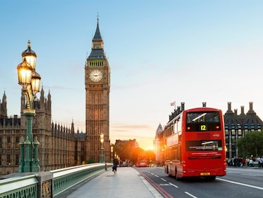 Red double-decker bus in London in the evening
