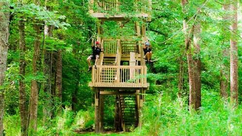 Couple ziplining in Virginia