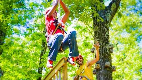 People ziplining in Virginia