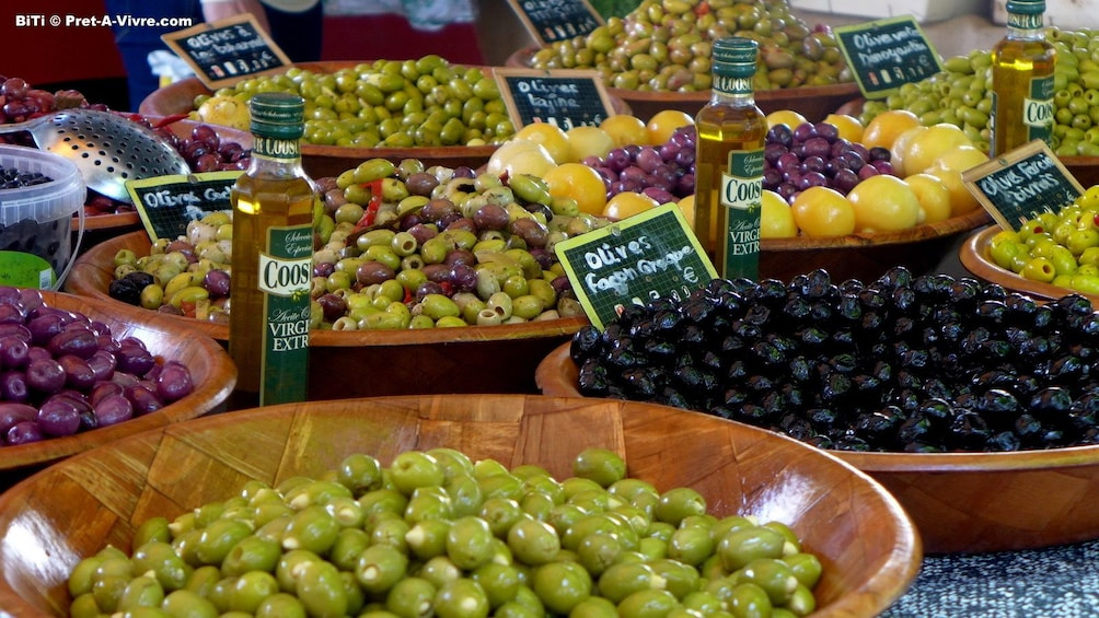 Show item 3 of 5. A variety of olives in Rapallo, Italy