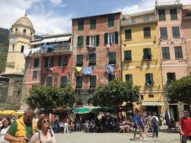 Tourists walking around Vernazza, Italy