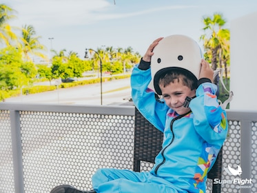 Child getting ready for SuperFlight Jungle Island in MIami
