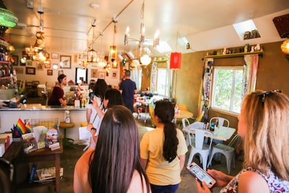 Tourists inside a restaurant in Flagstaff
