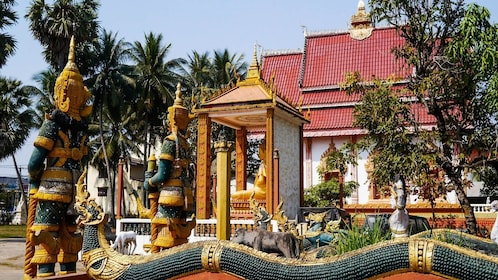 Sculptures outside a temple in Vientiane