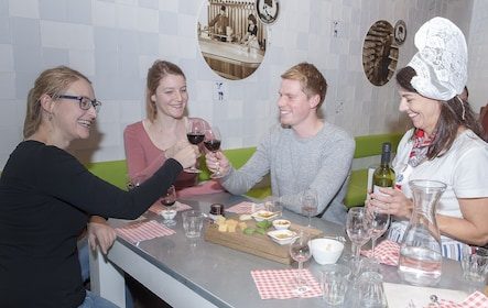 Group with wine and cheese in Amsterdam