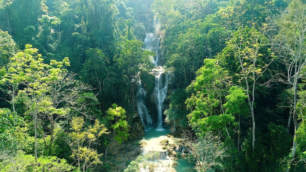 Show item 10 of 10. Aerial view of Kuang Si Falls waterfall in Laos