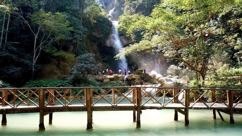 Show item 3 of 10. Kuang Si Falls waterfall in Laos
