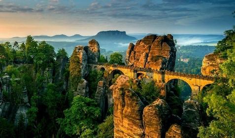 The Bastei Bridge in the mountains of Switzerland