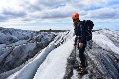 Hiking woman on a glacier in Iceland