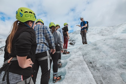 Hiking group on a glacier in Iceland
