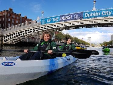 Kayaks on a river in Dublin