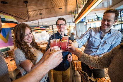 Tour group toasting cocktails in Denver