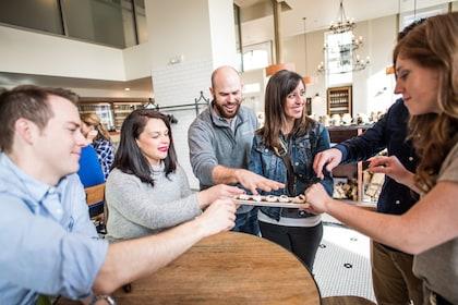 Group sampling food on a tour in Denver