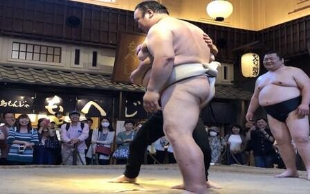Close view of the sumo wrestlers at Ryōgoku Edo NOREN in Tokyo