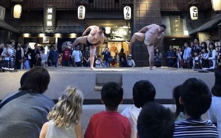 Sumo wrestlers at Ryōgoku Edo NOREN in Tokyo