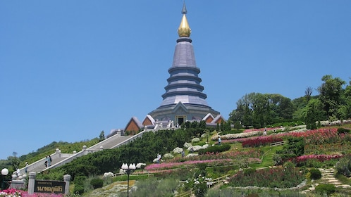 Temple with a golden spire in Chiang Mai
