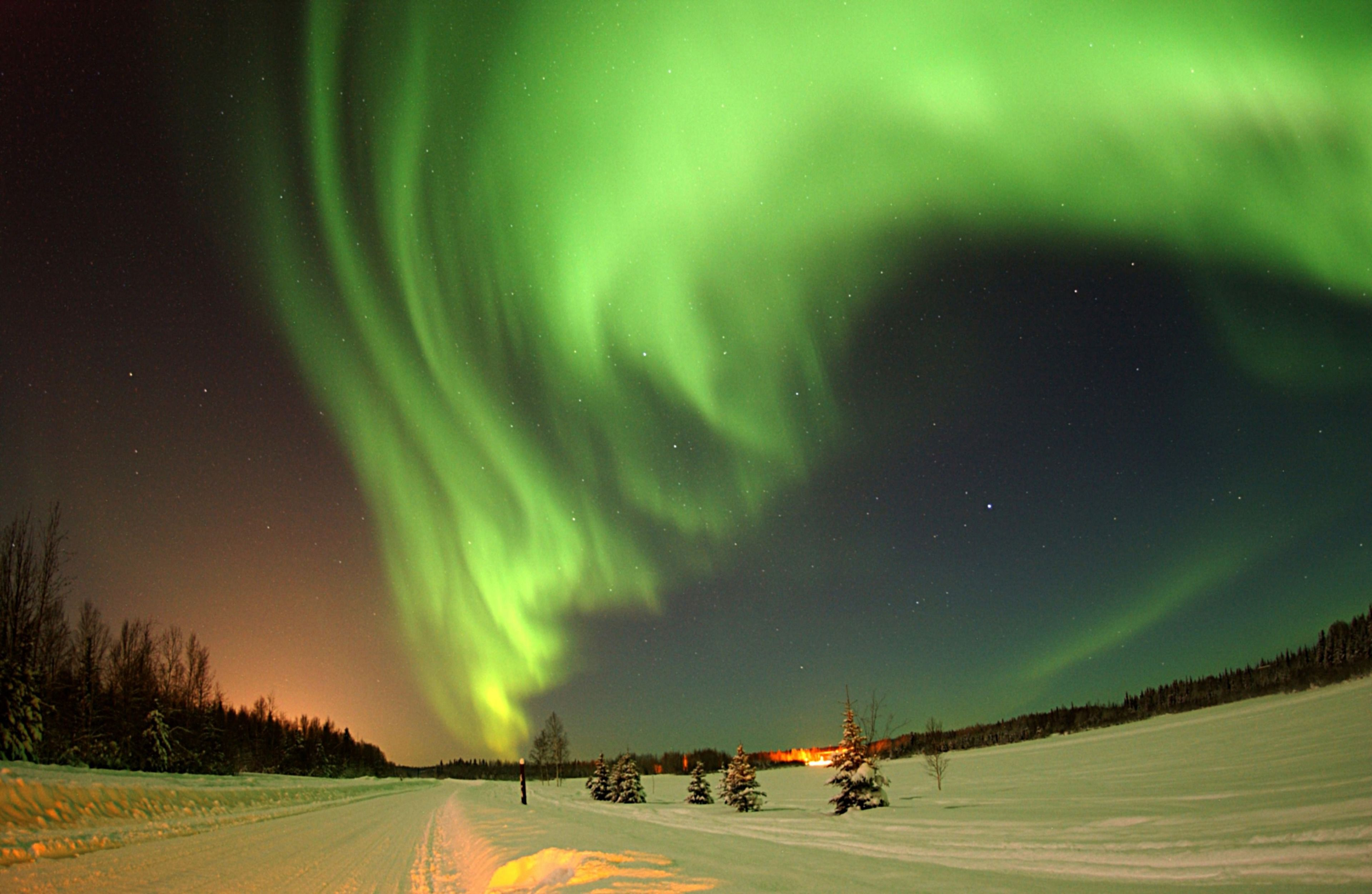 Vibrant view of the Northern Lights in Kiruna