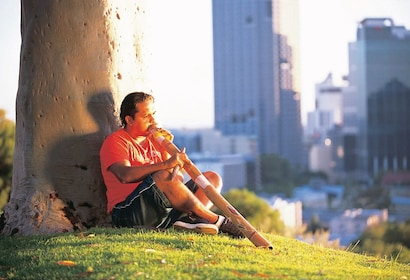 Man sits next to a tree in Kings Park