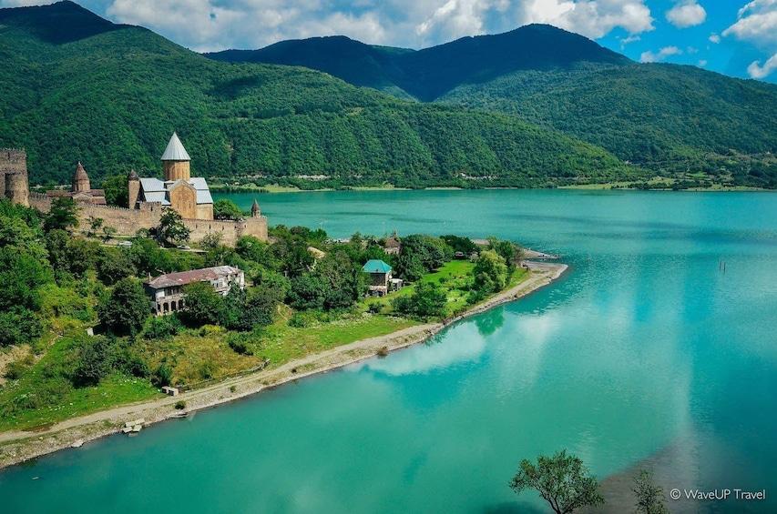 Castle on a lake in Georgia