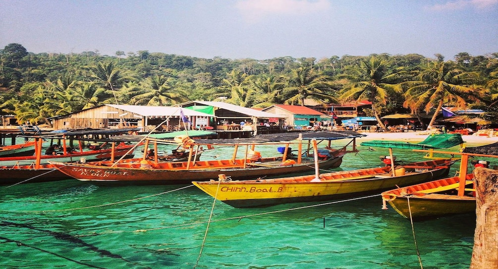Show item 1 of 10. Local wooden boats at Sihanoukville Port