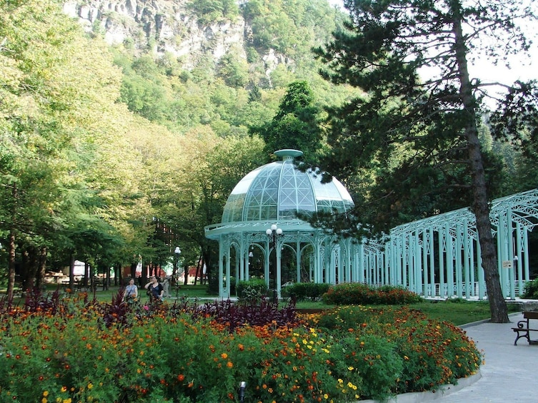 Show item 5 of 5. Glass gazebo at Borjomi-Kharagauli National Park in Georgia
