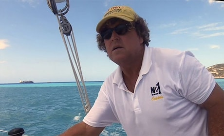 Man on a trimaran sailboat in St Barthelemy