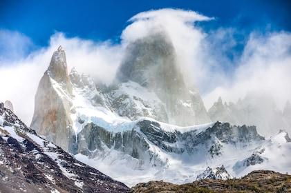 Hazy view of Fitz Roy Mountain in Patagonia